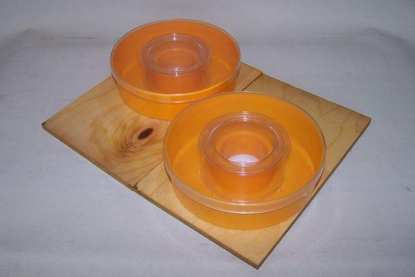 2x Deckel Mini Plus lasiert + 2x 1kg Füttergeschirr